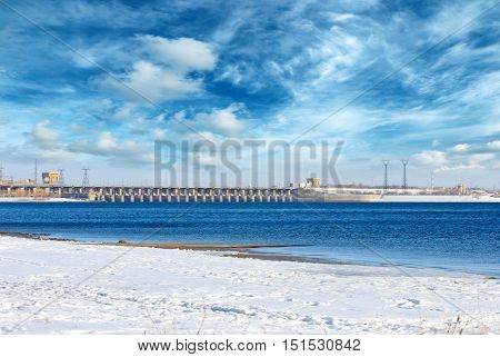 hydroelectric power plant on the Volga river, Volgograd city, Russia
