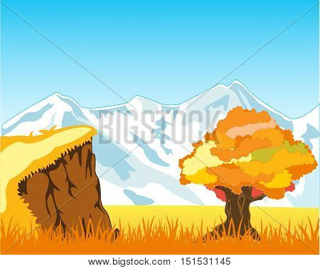 Autumn landscape with mountain and solitary by tree