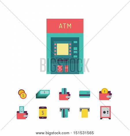 Vector set of icons in flat style on the subject of money, Finance, banking, ATMs