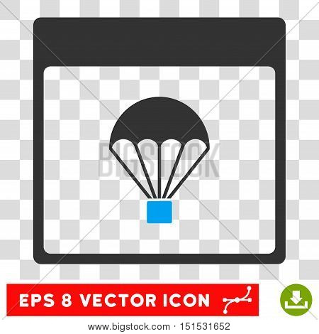 Vector Parachute Calendar Page EPS vector pictogram. Illustration style is flat iconic bicolor blue and gray symbol on a transparent background.