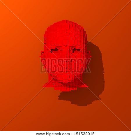 Red low polygonal human head illustration pop art colors
