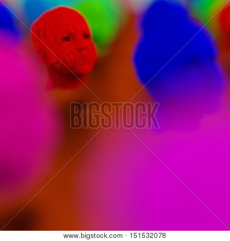 Close-up of red human head 3d model blurred foreground