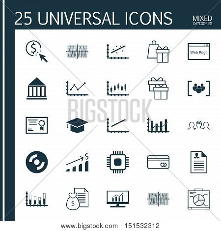 Set Of 25 Universal Icons On Market Research, Board, Raise Diagram And More Topics. Vector Icon Set
