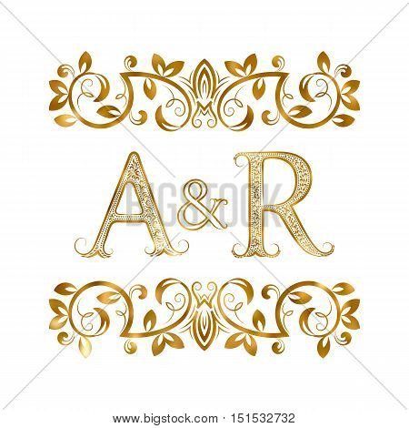 A&R vintage initials logo symbol. Letters A R ampersand surrounded floral ornament. Wedding or business partners initials monogram in royal style.