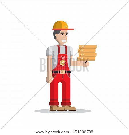 Service for fast pizza delivery. Express pizza delivery courier service. Man courier with boxes of pizza in his hands.