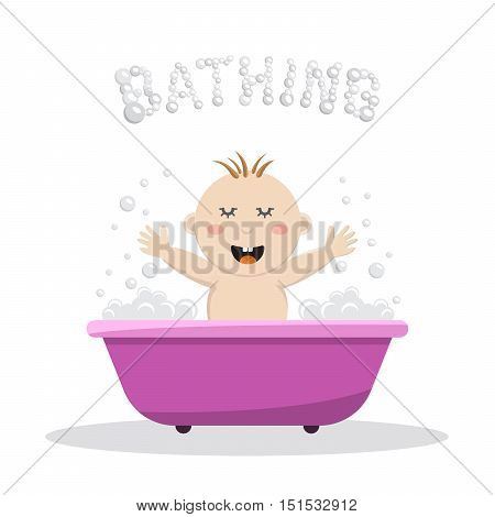 Baby bathing in a small bath, with bath foam and soap bubbles. A joyful baby takes a bath, body hygiene of the infant. Game baby in the bath water.