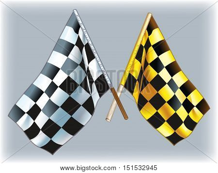 Black and white and black and yellow vector flags.