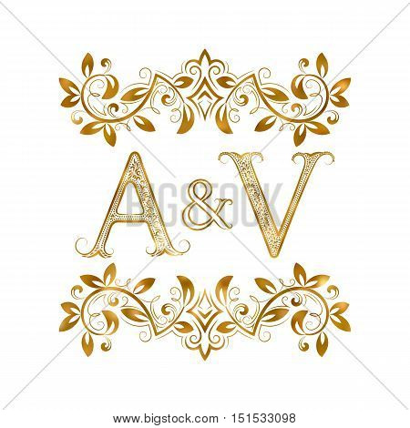 A&V vintage initials logo symbol. Letters A V ampersand surrounded floral ornament. Wedding or business partners initials monogram in royal style.