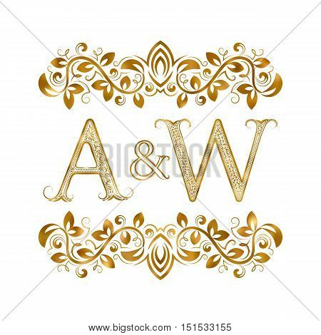 A&W vintage initials logo symbol. Letters A W ampersand surrounded floral ornament. Wedding or business partners initials monogram in royal style.
