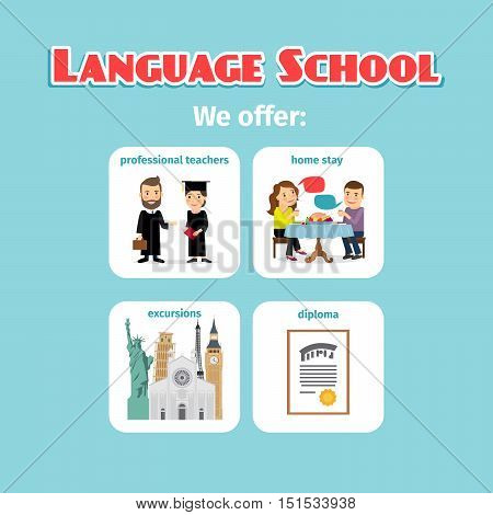 Benefits of studying in language school abroad. Vector illustration