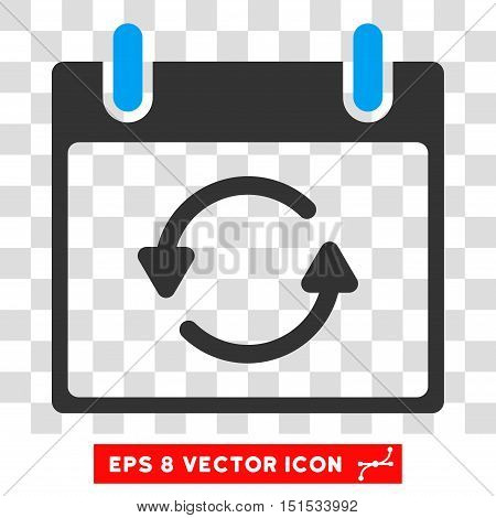 Vector Refresh Calendar Day EPS vector pictogram. Illustration style is flat iconic bicolor blue and gray symbol on a transparent background.