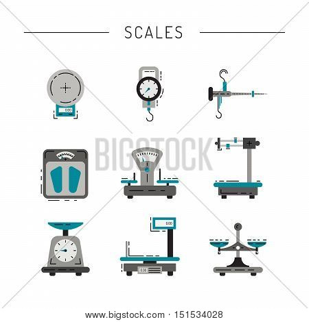 Set of scales for weighing things, products, people, painted in the technique flat. Flat icons of scales.