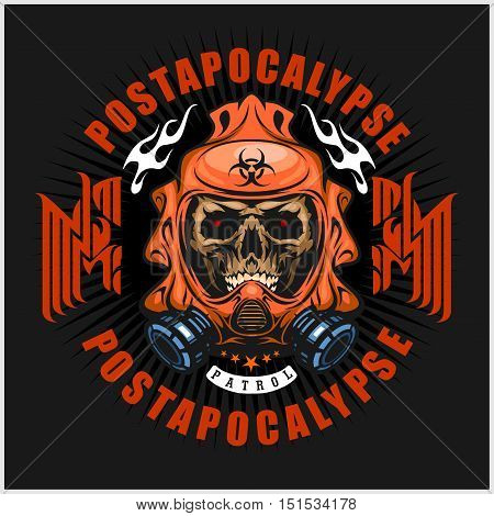 industrial, post-apocalypse coat of arms with skull, grunge.vintage design t-shirts on dark background