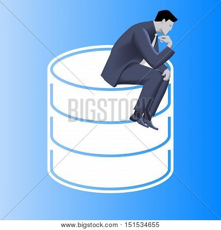 Big data business concept. Pensive businessman in business suit sits on top of huge database sign. Symbols of data driven business. Vector illustration. Use as template, logo, background.