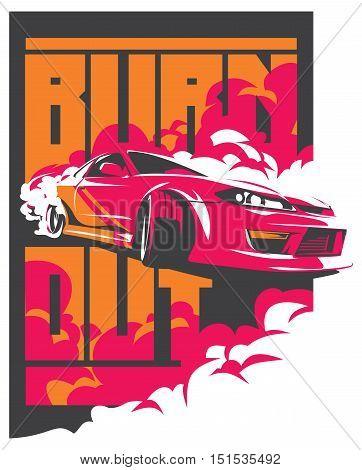 Burnout car, Japanese drift sport car, JDM, racing team, turbocharger, tuning. Vector illustration for sticker, poster or badge