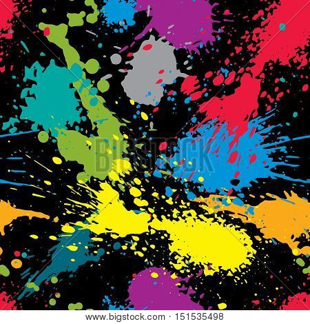Colorful splattered web design repeat pattern messy art ink blob paintbrush drawing. Bright seamless background