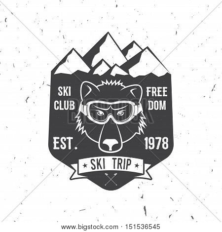 Ski club concept with bear. Vector ski club retro badge. Concept for shirt, print, seal or stamp. Ski club - wild bear. Typography design- stock vector. Family vacation, activity or travel. For logo design, patches or badges.