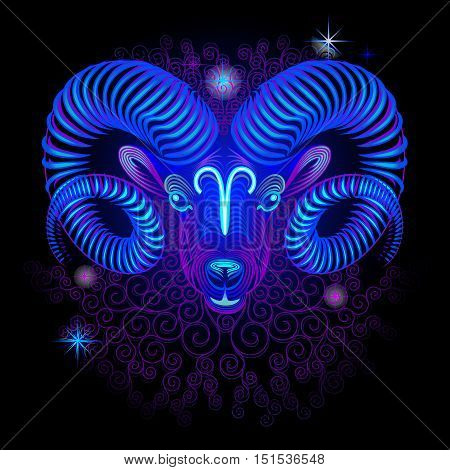 Neon signs of the Zodiac: Aries. A series of signs of the zodiac. Made in neon art. On a black background constellations.