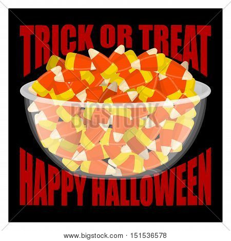 Trick Or Treat. Happy Halloween. Bowl And Candy Corn. Sweets On Plate. Traditional Treat For Terribl