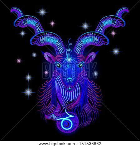 Neon signs of the Zodiac: Capricorn. A series of signs of the zodiac. Made in neon art. On a black background constellations.