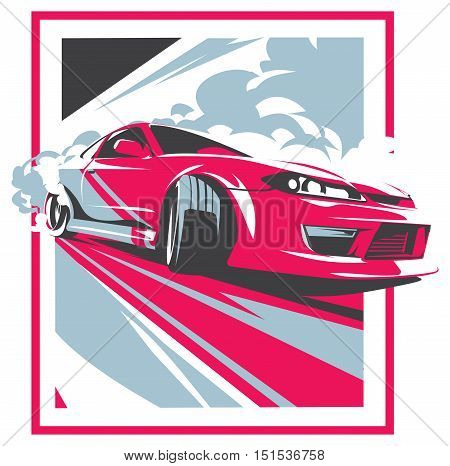 Burnout car, Japanese drift sport car, JDM, racing team, turbocharger, tuning. Vector illustration for sticker, poster or badge