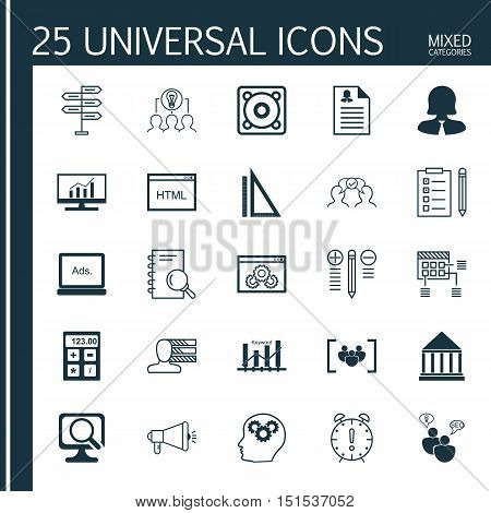 Set Of 25 Universal Icons On Media Campaign, Collaborative Solution, Financial And More Topics. Vect