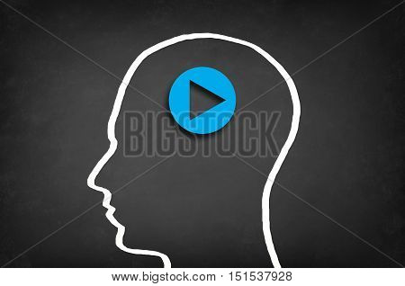 Play button in head. Start or initiate projects concept.