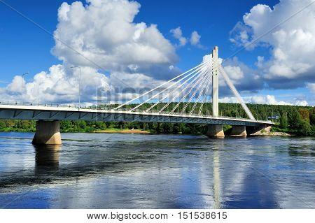 ROVANIEMI FINLAND -  The Jatkankynttila bridge (Lumberjack Candle Bridge) over Kemijoki river