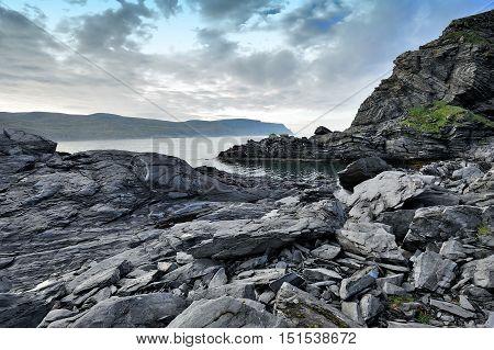 coastline near Skarsvag town Finnmark province Norway
