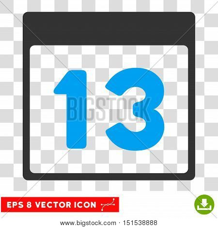 Vector Thirteenth Calendar Page EPS vector pictograph. Illustration style is flat iconic bicolor blue and gray symbol on a transparent background.