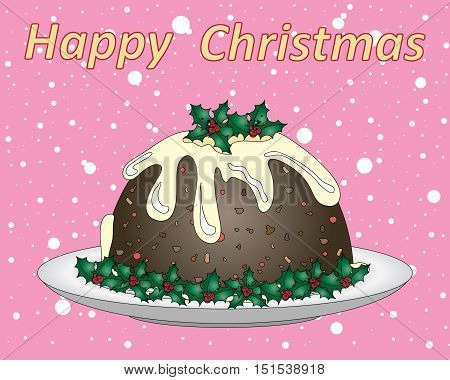 an illustration of a stylized christmas pudding with holly decoration on a pink snowy background