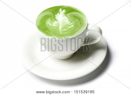 drink, diet, weight-loss and slimming concept - cup of matcha green tea latte over white
