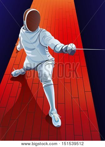 male fencer in action. vector fencing player fighting