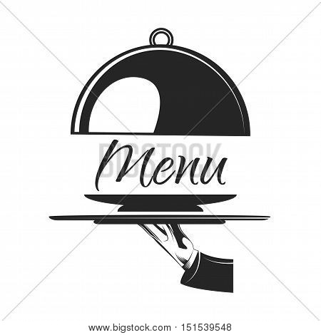 Food serving tray. Silver tray in hand waiter. Vector illustration. Menu Badge