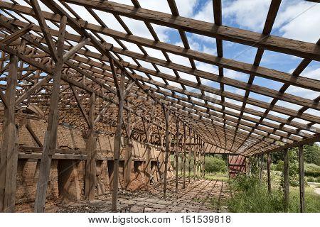 Derelict brickyard without roof in Silkeborg Denmark