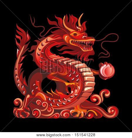 Collection of mascots: red dragon. Vector objects talismans Feng Shui on a black background.
