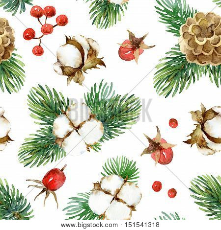 Holiday New Year bright seamless pattern with cotton flowers, fir-tree branches, cones, and berries rosehip. Watercolor illustration