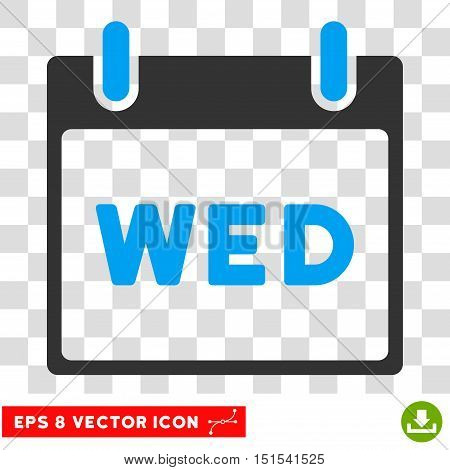 Vector Wednesday Calendar Page EPS vector pictogram. Illustration style is flat iconic bicolor blue and gray symbol on a transparent background.