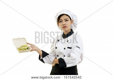 Portrait Of Asian Young Woman Holding A Food Box Paper With Egg Salad.
