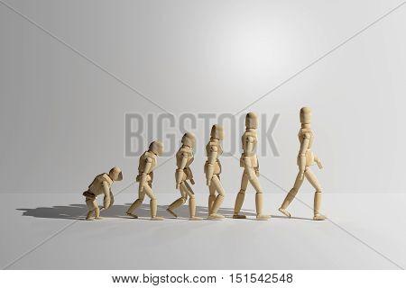 Wooden Mannequin Prototype Of Human Evolution