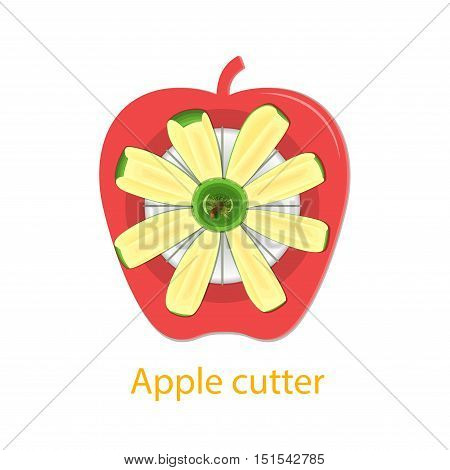 Vector illustration of a tool for cutting lobes of apples. Knife with slices of apple green apple. Pieces of delicious fruit for product design about a healthy diet, diet, vegetarian food