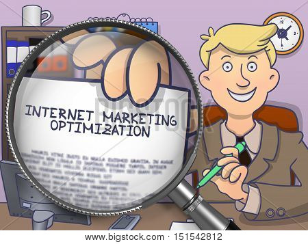 Internet Marketing Optimization. Paper with Concept in Business Man's Hand through Magnifier. Multicolor Doodle Style Illustration.