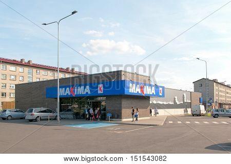 NARVA, ESTONIA - AUGUST 21, 2016: Food Supermarket Maxima X. Located opposite The Fama Center