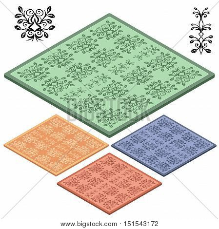 Set Oriental carpets. Orange, bown, blue, green icon. 3D isometric view. Vector illustration.