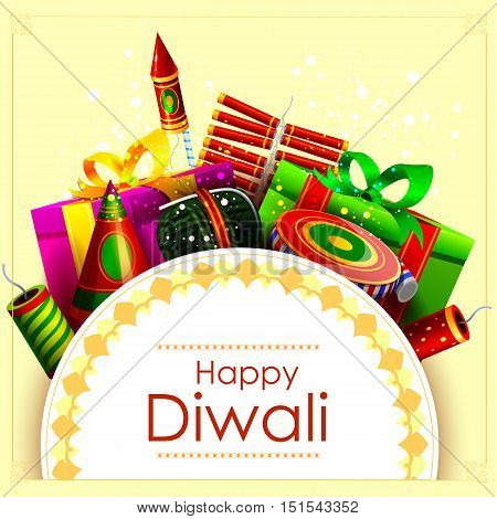 easy to edit vector illustration of fire cracker with gift for Happy Diwali holiday background