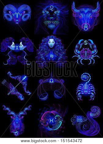 Set of neon zodiac icons (astrology, astronomy). Horoscope signs as cartoon characters. Vector illustration on a black background