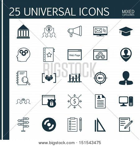 Set Of 25 Universal Icons On Keyword Marketing, Reminder, Graduation And More Topics. Vector Icon Se