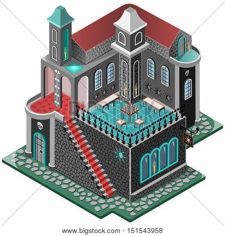 Haunted House. Mansion  in gothic style. Terrace with chess table, two tower and carpeted staircase. 3D isometric view. Vector illustration.