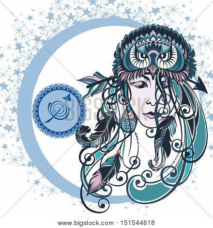 Decorative Zodiac sign Sagittarius for your design