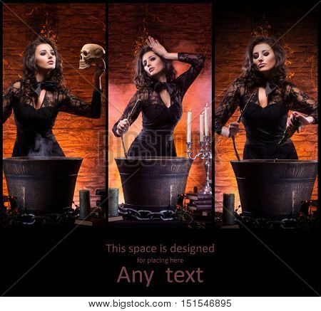Beautiful female magician making witchcraft. Sexy witch in dungeon. Set collection. Halloween magic concept.